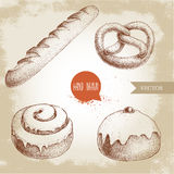 Hand drawn sketch style bakery goods illustrations set. Fresh salted pretzel, french baguette, iced cinnamon bun and iced bun. With cherry. Daily product. Fresh Stock Image