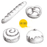 Hand drawn sketch style bakery goods illustrations set isolated on white background. Fresh salted pretzel, french baguette, iced c. Innamon bun and iced bun with Royalty Free Stock Images