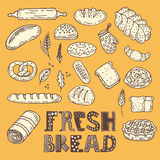 Hand drawn sketch style bakery set. Vector collection of fresh b Royalty Free Stock Photography