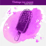 Hand drawn sketch style chocolate ice cream lolly Stock Photography