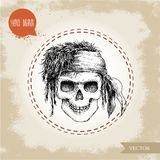 Hand drawn sketch style human skull with dreads and bandana. Royalty Free Stock Image