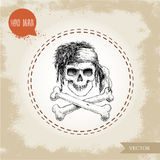 Hand drawn sketch style human skull with dreads, bandanaand bones Royalty Free Stock Images