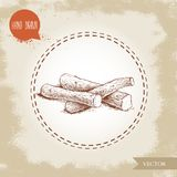 Hand drawn sketch style liquorice roots heap. Herbal and aromatic vector illustration. EPS10 + JPEG preview Royalty Free Stock Image