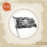 Hand drawn sketch style pirate vector black flag Royalty Free Stock Photos