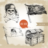 Hand drawn sketch style pirates set. Treasure chest, Jolly Roger, pirates flag. Royalty Free Stock Images