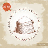 Hand drawn sketch style sack with whole flour. Royalty Free Stock Images