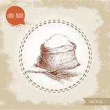Hand drawn sketch style sack with whole flour an wheat bunch. Stock Image