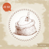Hand drawn sketch style sack with whole flour with wooden scoop. Stock Photography