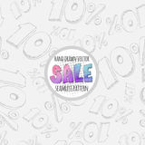 Hand drawn sketch style sale seamless pattern. 10% discount Royalty Free Stock Photo