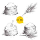 Hand drawn sketch style set of sacks with whole flour and wheat bunch Stock Photography