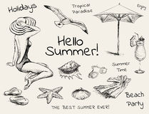 Hand Drawn Sketch Summer Set Stock Images