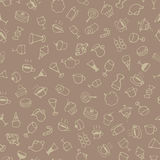 Hand drawn sketch sweets and drink pattern. On brown background Stock Photo