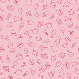 Hand drawn sketch sweets and drink pattern. On pink background royalty free illustration