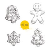 Hand drawn sketch traditional Christmas cookies set. Hand bell. gingerbread men, snowflake and christmas tree. Royalty Free Stock Images