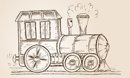 Hand Drawn Sketch train, Vector Illustration Royalty Free Stock Images