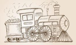 Hand Drawn Sketch train, Vector Illustration Royalty Free Stock Photos