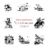 Hand-drawn sketch travel and vacation icon collection, different ethnic houses of world Black on white background Stock Images