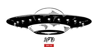Hand drawn sketch of ufo in black isolated on white background. Detailed vintage etching style drawing. Vector engraved style illustration for posters vector illustration