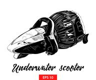 Hand drawn sketch of underwater scooter in black isolated on white background. Detailed vintage etching style drawing. stock illustration