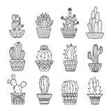 Hand drawn sketch, vector cactus set royalty free illustration