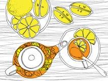 Hand drawn sketch vector tea set Stock Image