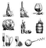 Hand drawn sketch vector wine set. Wine objects bottle, glass, barrel, grapes, corkscrew, sommelier. Hand drawn sketch vector wine set. Wine objects bottle vector illustration