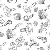 Hand drawn sketch vegetables, Vector pattern mushrooms, olive, pepper, onion isolated on white, Ideal for use in organic food indu Royalty Free Stock Images