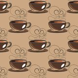 Hand drawn sketch vintage coffee beans seamless pattern. Vector illustration. Background for cafe and restaurant menu design Stock Images