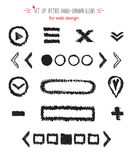 Hand-drawn sketch web icon set - arrows, buttons, slider marks, sandwich menu, cross, play Royalty Free Stock Image