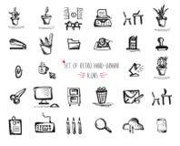 Hand-drawn sketch web icon set - office, economy, seo, marketing Stock Photography