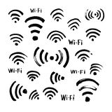 Hand drawn sketch Wi-Fi icon Stock Photos