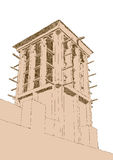 Hand drawn Sketch of Wind Tower Architecture Royalty Free Stock Images