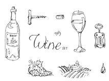 Hand drawn sketch wine set Royalty Free Stock Photography