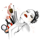 Hand drawn sketch of woman face with different types of make up on background. Line art sketch - beautiful woman illustration royalty free illustration
