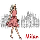 Woman in Milan. Hand-drawn sketch of woman in Milan at Piazza del Duomo in Italy Stock Photography