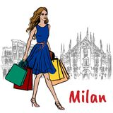 Woman in Milan. Hand-drawn sketch of woman in Milan at Piazza del Duomo in Italy Royalty Free Stock Photos