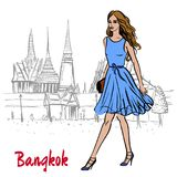 Woman near Grand Palace and Wat Prakeaw. Hand-drawn sketch of woman near Grand Palace and Wat Prakeaw, Old City of Bangkok, Thailand Royalty Free Stock Photo