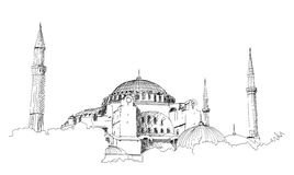 Hand drawn sketch of the world famous Blue mosque with Ramadan Kareem text, Istanbul in vector illustration.