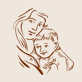 Hand drawn sketch young mother and child. Vector Stock Images