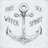 Hand drawn sketched anchor, textured grunge vintage anchor label, retro badge or T-shirt typography design with anchor and sunrays Stock Photography