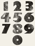 Hand drawn and sketched bold numbers set. Stock Images