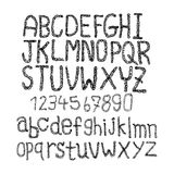 Hand drawn and sketched classic font, vector sketch style alphab Royalty Free Stock Images