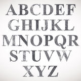 Hand drawn and sketched classic font. Royalty Free Stock Images