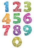 Hand drawn and sketched color bold numbers set. Stock Photo