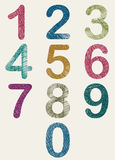 Hand drawn and sketched color numbers set. Royalty Free Stock Photo