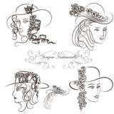 Hand drawn sketched female portraits Royalty Free Stock Images