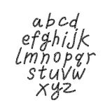 Hand drawn and sketched font, vector sketch style alphabet. Stock Photo