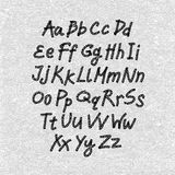 Hand drawn and sketched font, vector sketch style alphabet. Royalty Free Stock Images