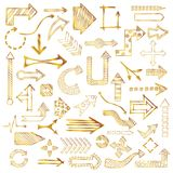 Doodle arrows collection. Hand drawn sketched gold Arrows in different shapes set. Doodle golden arrows collection. Vector illustration Stock Photography