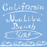 Hand drawn sketched lettering California Malibu beach surf sign, T-shirt Printing design, typography graphics  grungy vector illus Royalty Free Stock Image